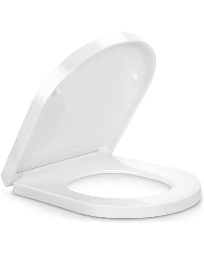 Pipishell Toilettendeckel, WC Sitz mit Absenkautomatik, Premium Klodeckel D-Form aus Duroplast,...