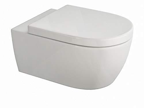 Design Hänge WC aus Keramik, Spülrandlose Toilette mit Softclose Absenkautomatik, Wand WC in...