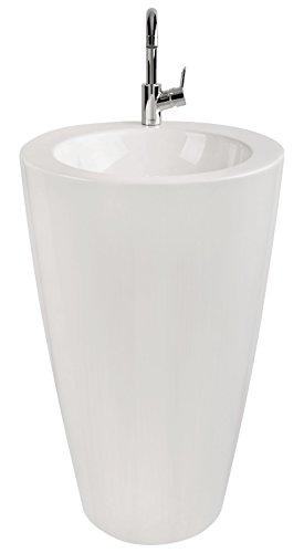 'aquaSu® Säulen-Waschplatz litO | Mineralguss | Durchmesser 52,5 cm | Weiß | Waschbecken |...