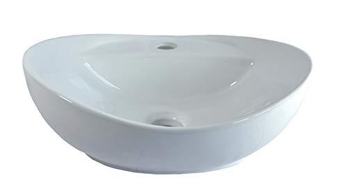 1x Keramikwaschbecken oval eckig klein Aufsatz Waschbecken Keramik 40,5cm L 33cm B