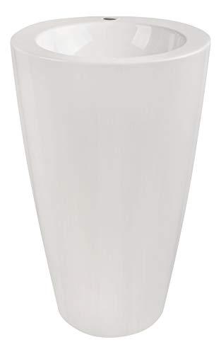 Calmwaters® Design-Standwaschbecken aus Mineralguss mit Hahnloch und Überlauf, 52,5 cm breit...