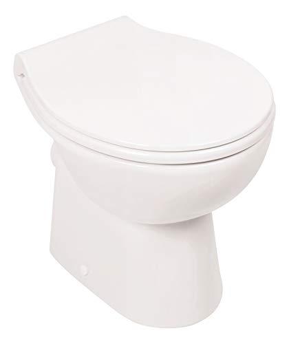 Calmwaters® - Spülrandloses Stand-WC mit waagerechtem Abgang als Tiefspüler im Set mit...