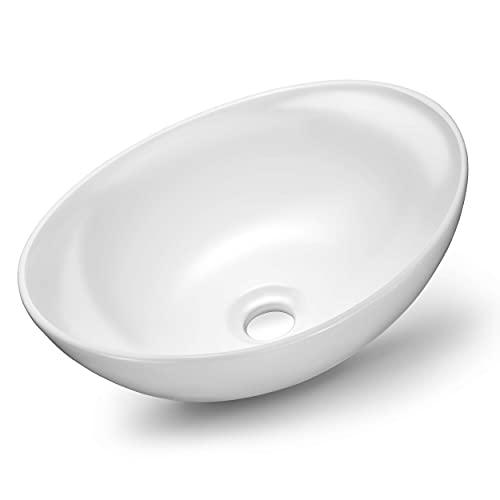 VMbathrooms Premium Hochglanz Waschbecken Oval   Aufsatzwaschbecken für das Badezimmer und...