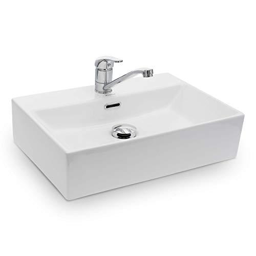 Vilstein Waschbecken Badezimmer, Aufsatzwaschbecken, Hängewaschbecken aus Keramik, eckig, 51cm...