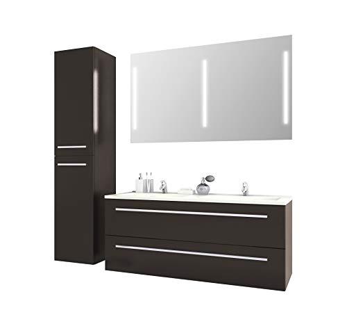 Badmöbelset Libato Waschtischunterschrank mit Hochschrank und Leuchtspiegel 60 90 120 cm -...