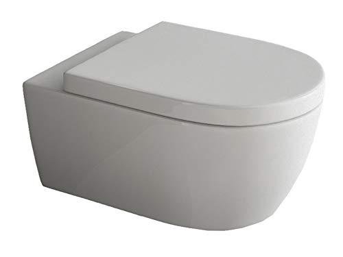Design Hänge WC | Spülrandlose Toilette | Wand-WC | WC-Set | Inkl. abnehmbaren WC-Sitz mit...