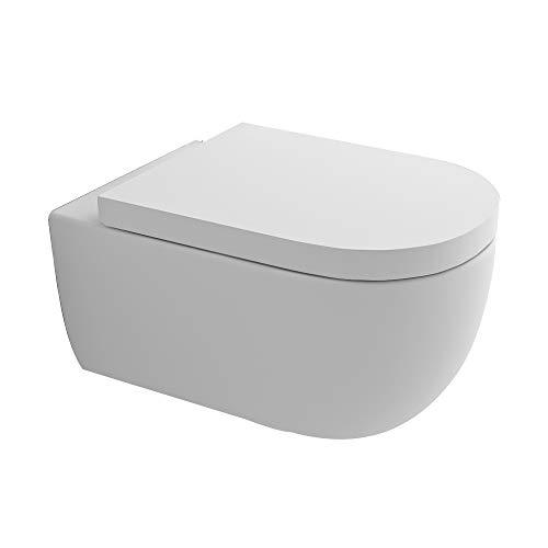 Hochwertiges Spülrandloses Hänge WC I Toilette aus Keramik mit Antibakterieller Oberfläche...