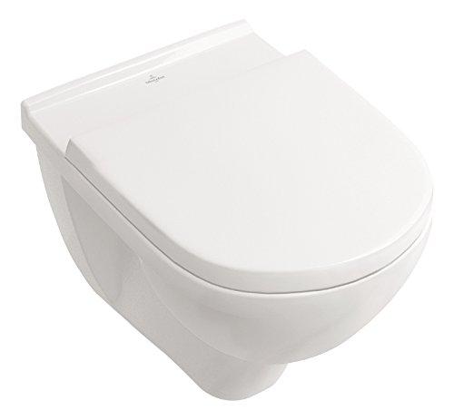 Villeroy & Boch Spülrandloses Wand-WC O.Novo mit WC-Sitz, 5660HR01, Tiefspüler spülrandlos...