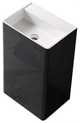 Standwaschbecken TWZ26 aus Mineralguss Solid Stone - in Weiß oder Schwarz - 50x36x85cm,...