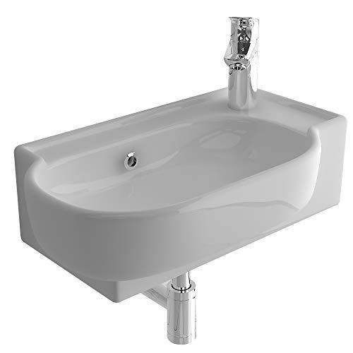 bad1a Handwaschbecken Mini Waschtisch Weiß Keramik-Waschbecken 45 cm mit Überlauf...