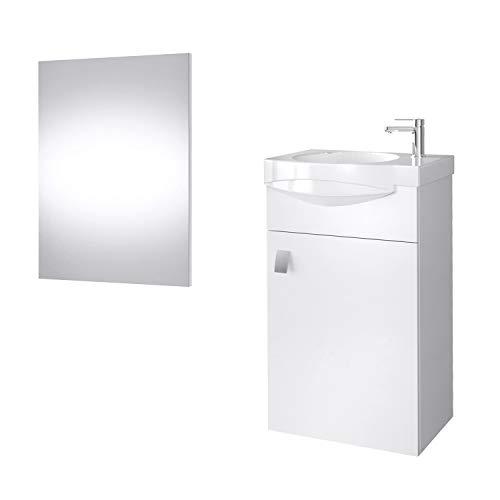 Planetmöbel Badmöbel Set Gäste WC Waschtischunterschrank Keramikwaschbecken Spiegel Weiß