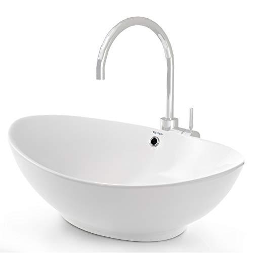 VILSTEIN© Keramik Waschbecken Aufsatz-Waschbecken Aufsatz-Waschschale Waschtisch oval weiß 60...