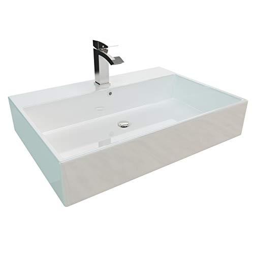 Kerabad Handwaschbecken zur Wandmontage – Keramik Waschbecken eckig – Farbe: Weiß