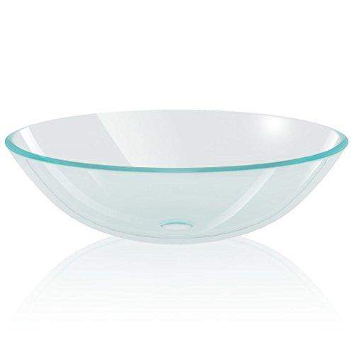 vidaXL Waschbecken Hartglas 42cm Transparent Aufsatzwaschbecken Waschschale