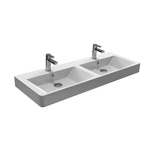 Aqua Bagno Design Doppelwaschbecken aus Keramik Doppelwaschtisch Hängewaschbecken KP.120.2 |...