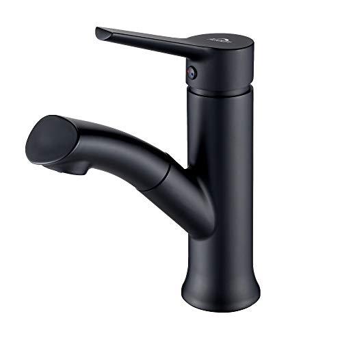 Auralum schwarz Badarmatur mit herausziehbarer, Waschbeckenarmatur Waschtischarmatur aus...