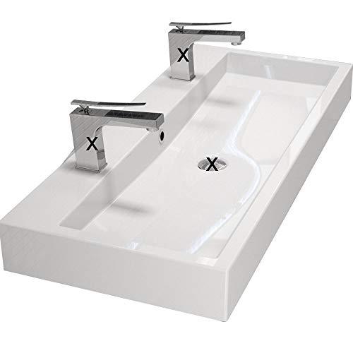 Design Waschbecken 100cm zur Wandmontage oder als Aufsatzwaschbecken mit 2 Armaturlöcher |...
