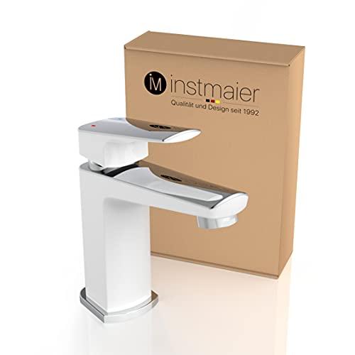 instmaier B2 | Wasserhahn für Bad | Waschtischarmatur in Chrom Weiß | Armatur mit einfacher...