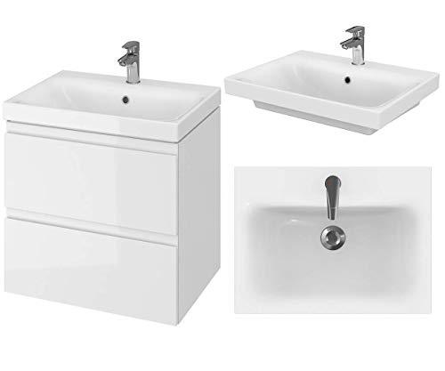 VBChome Badmöbel Weiß 60 cm Slim Waschbecken mit Unterschrank Waschtisch 2-Schubladen Moduo