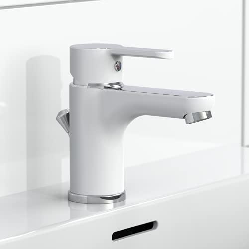EISL Waschtischarmatur DIZIANI, Wasserhahn Bad in Weiß/Chrom, Einhebelmischer mit...