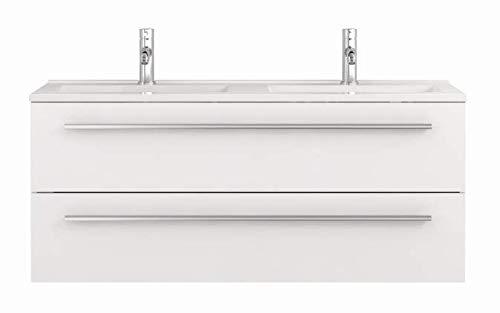 Waschtischunterschrank 120 cm breit weiß Hochglanz Doppel-waschtisch Doppel-waschbecken...