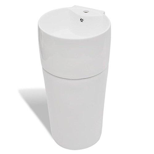 mewmewcat Keramik Waschbecken Säule Bad Standwaschbecken Stand Waschtischsäule Rund Weiß 400...
