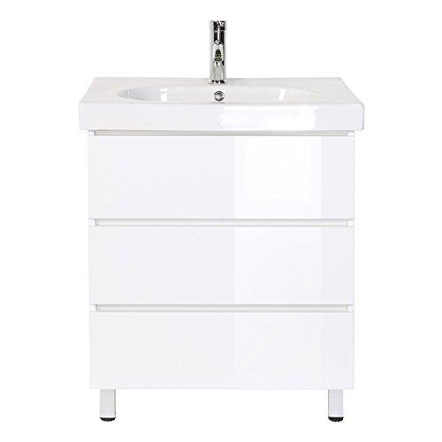 Waschplatz Stand Grifflos Standmöbel inkl. Mineralguss-Waschbecken in Hochgl. weiß ideal für...