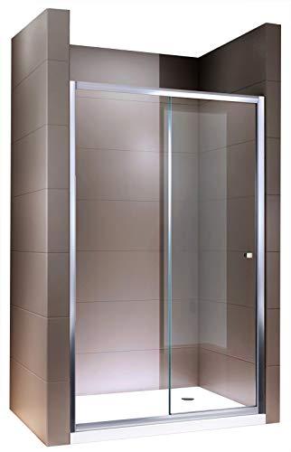 Duschabtrennung Schiebetür NANO Echtglas EX505 - Klarglas - Höhe 195cm - Breite wählbar,...