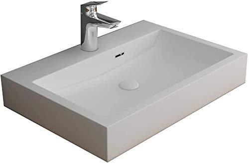 Alpenberger Aufsatz Waschbecken 60 x 42 cm aus Mineralguss | Handwaschbecken mit integriertem...