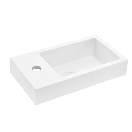 [neu.haus] Waschbecken Aufsatzwaschbecken Handwaschbecken für Gäste WC - weiß - 40x22x7cm...