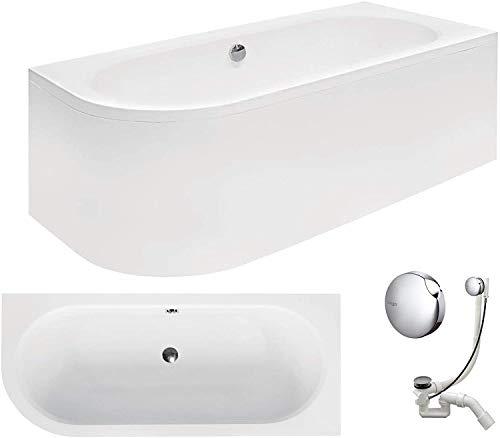 VBChome Badewanne 170x75 cm Acryl SET Schürze Siphon Wanne Ecke Eckbadewanne Weiß Design...