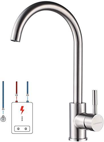 Lonheo Niederdruck Wasserhahn Küche Armatur aus Edelstahl, 360° Schwenkbar Küche...