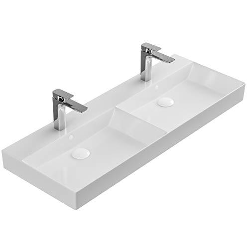 Doppelwaschbecken zur Wandmontage – Keramik Waschbecken eckig 1200 cm – Farbe: Weiß