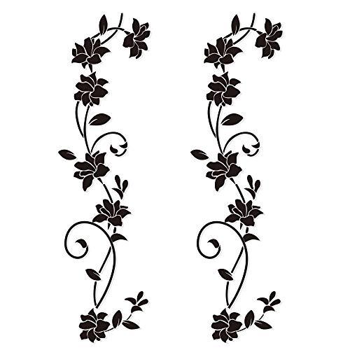 4pcs Wandtattoo Blumenranken Schwarz Blumen Hibiskus Wandtattoo Wanddeko Blumenranke Aufkleber...