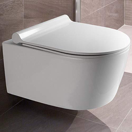 VILSTEIN Design Toilette | Spülrandlos | Hänge WC Set | Inkl. abnehmbaren WC-Sitz und...