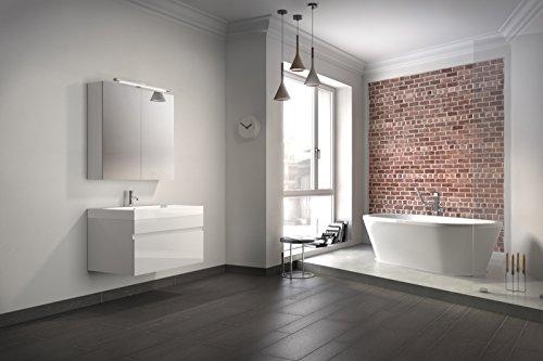 Bad11® - Badmöbelset Pandora 2 teilig 80 cm, Badezimmer-Möbel in hochglanz weiß, Bad Möbel...
