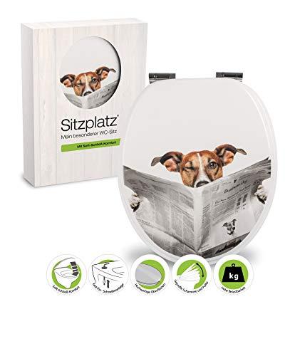 SITZPLATZ® WC-Sitz mit Absenkautomatik, lustiges Dekor Lesestoff, Toilettensitz mit Holz-Kern...