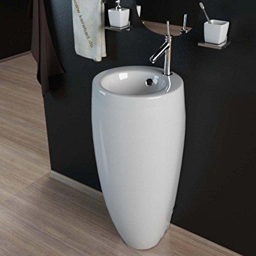KERABAD Design Keramik Standwaschbecken Waschtisch Waschsäule Säule Standwaschtisch Rund Oval...