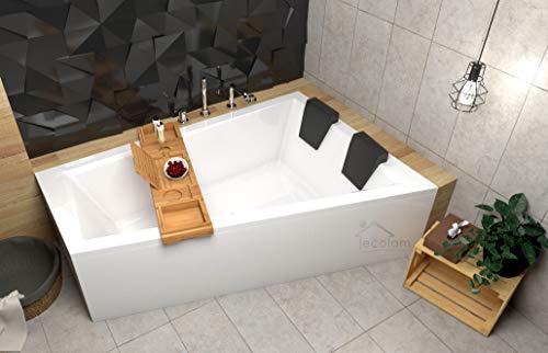 ECOLAM Badewanne Intima Duo Eckwanne für Zwei 180x125 cm RECHTS + Ablage Bambus + Schürze aus...