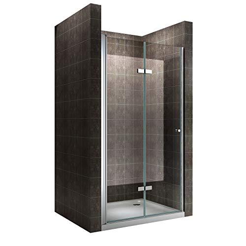 Einzelfalttür Falttür Duschtür Duschabtrennung Klarglas 6mm ESG Sicherheitsglas - alle...
