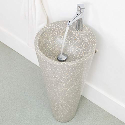 wohnfreuden Terrazzo Standwaschbecken Waschtischsäule 90 cm grau Creme Stein...