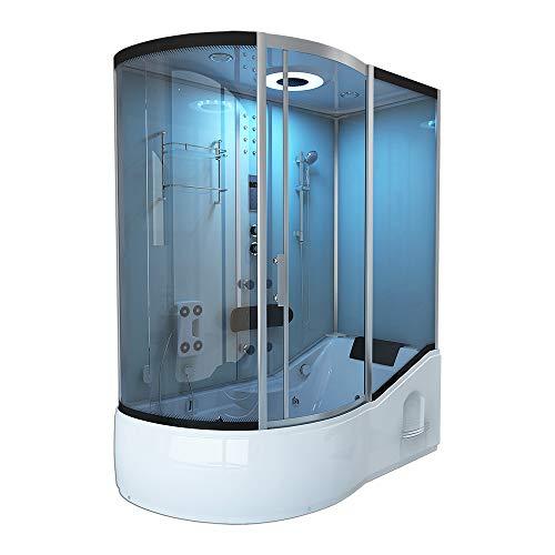 Home Deluxe - Duschtempel mit Regendusche und Handbrause - All IN 4in1 weiß Links- Maße: 170...