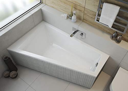 ECOLAM Badewanne Eckwanne Barbade Trapez 150x100 cm LINKS Acryl weiß Ablaufgarnitur Ab- und...