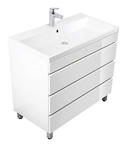 Waschplatz Stand Standmöbel inkl. Mineralguss-Waschbecken in Hochgl. weiß ideal für...