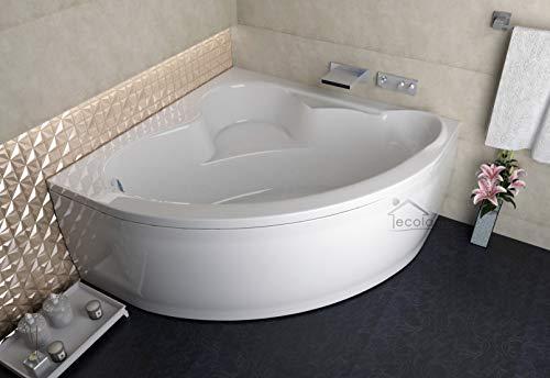 ECOLAM symmetrische Badewanne Eckbadewanne Standard Acryl weiß 120x120 cm + Schürze...
