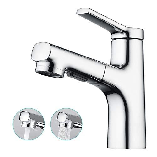 CREA Wasserhahn Bad Waschbecken Mischbatterie Badarmatur ausziehbar, Waschtischarmatur Bad mit...