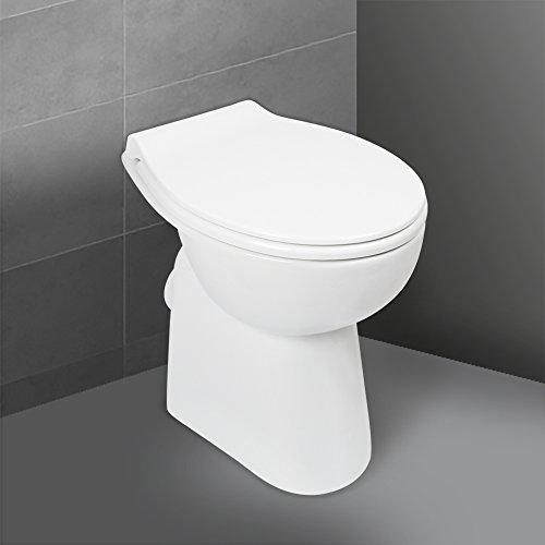 'aquaSu® Stand WC spülrandlos mit +7 cm Erhöhung, Komplett-Set mit Toilettendeckel mit...