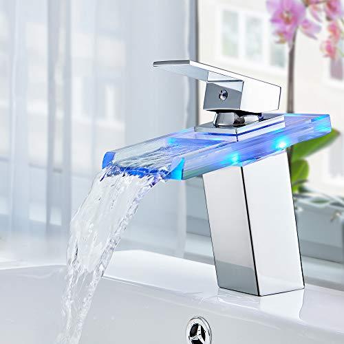 Auralum LED Glas Wasserhahn Wasserfall Waschtischarmatur Bad Armatur Waschbeckenarmatur...