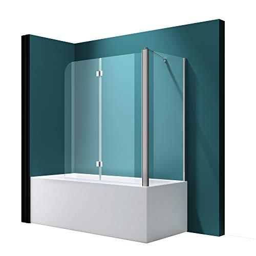 Badewannenfaltwand C113 Wandanschlag rechts in Klarglas 6mm ESG-Glas Nano-Versiegelung, BTH:...