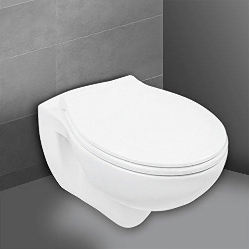 Wand-WC-Set Jonas | Spülrandlos | Inklusive WC-Sitz | Tiefspüler | Weiß | Spülrandlose...